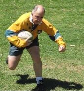 A rugby player in action