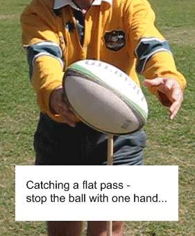 Catching a flat pass - stop the ball with one hand