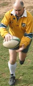 Chip kick of a rugby ball starting position