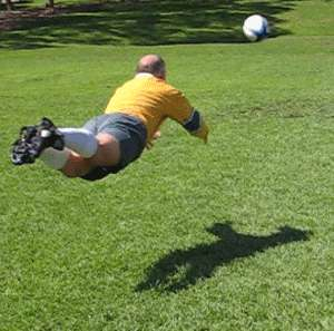 Dive pass of a rugby ball finish position