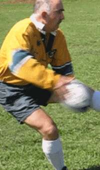 Dummy pass of a rugby ball starting position