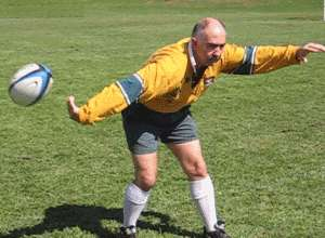 Flick pass of a rugby ball finishing position