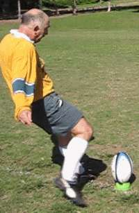 Instep place kick of a rugby ball starting position
