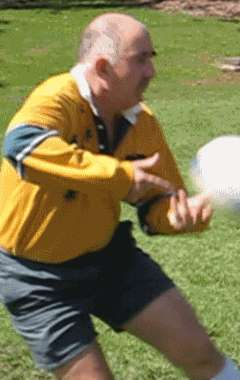 Pop pass of a rugby ball finish position