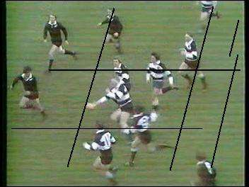 Image of play as the contoversial pass is made