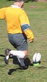 Toe place kick of a rugby ball starting position